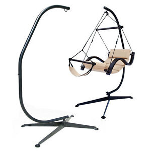 c frame stand indoor outdoor solid steel hammock air porch swing hanging chair ebay. Black Bedroom Furniture Sets. Home Design Ideas