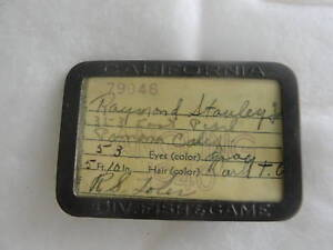 California Fishing License on California 1940 Div Fish Game Angling License Holder   Ebay