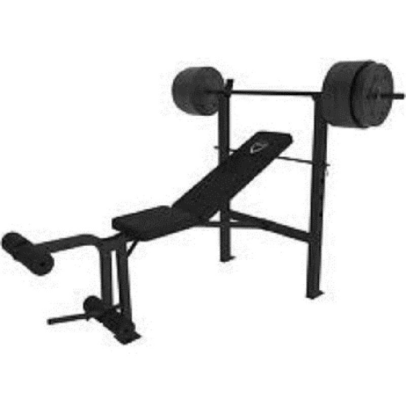 Cap Barbell Deluxe Standard Weight Bench And 100 Lb Set Steel Bar Leg Developer Ebay