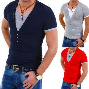 CARISMA-2in1-Deep-V-Neck-T-Shirt-Party-Club-5-FARBEN-Clubwear-NEU