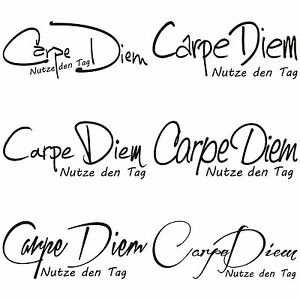 carpe diem zitat k che essen tattoo f r t r wand fliesen glas auto aufkleber 1 ebay. Black Bedroom Furniture Sets. Home Design Ideas