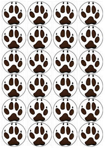 Cast Image Wolf Paw Prints 20 x 50mm Edible Cake Toppers Printed on ...