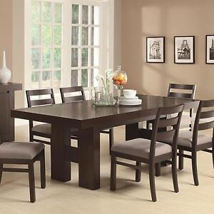 Casual Contemporary Dark Wood Dining Table Chairs Dining Room