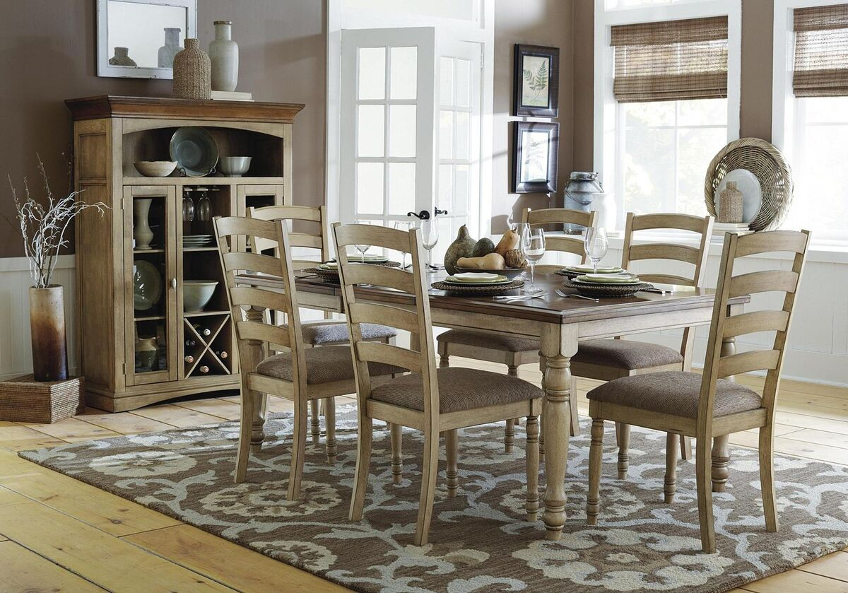 Dining table furniture country dining table and chairs for Oak dining room table