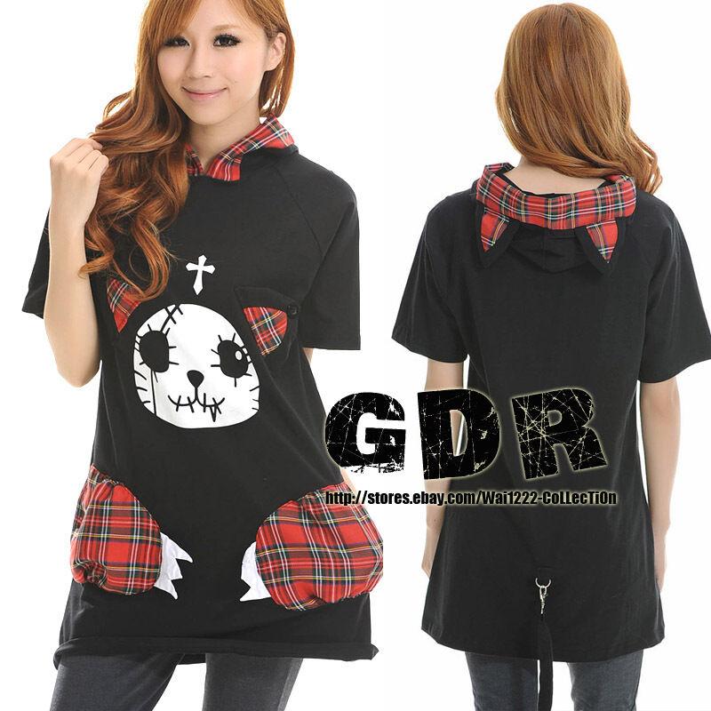 HOODIE DOLLY Gothic Lolita kera 301052 Punk Cosplay Shirt TOP + TAIL
