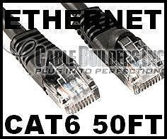 Cable  Gigabit Ethernet on Cat6 50ft Black Gigabit Ethernet Cable Builders 50  Snagless Cord Dsl