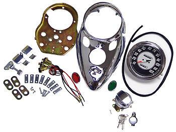 Cateye Speedometer 2 1 Chrome Dash Kit Harley Panhead Hydra Glide 1948 thru 1965