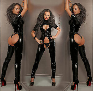 CATSUIT-OVERALL-ANZUG-LACK-CLUBWEAR-PARTY-GOGO-BODY-GROssE-S-M-L-XL-36-38-40-42