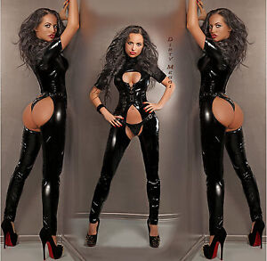 CATSUIT-OVERALL-ANZUG-LACK-DOMINA-FETISCH-GOGO-BODY-GROssE-S-M-L-XL-36-38-40-42