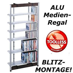 cd regal dvd blu ray alu schrank aufbewahrung m bel neu ebay. Black Bedroom Furniture Sets. Home Design Ideas