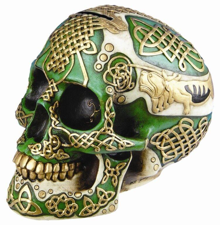 Halloween decor celtic green lion skull money saving bank for Celtic skull tattoo