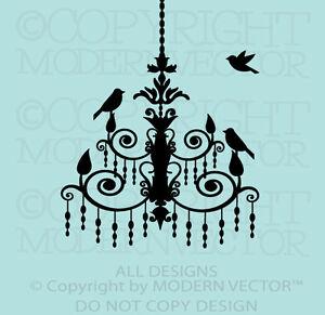 Chandelier With Birds Paris Theme Vinyl Wall Decal Designs