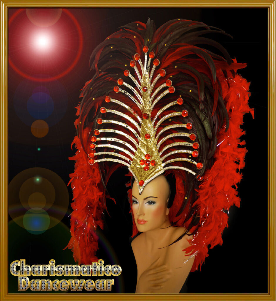 8e3cb9aa CHARISMATICO Red SAMBA CABARET CARNIVAL DRAG QUEEN DANCE Feather BOA ...