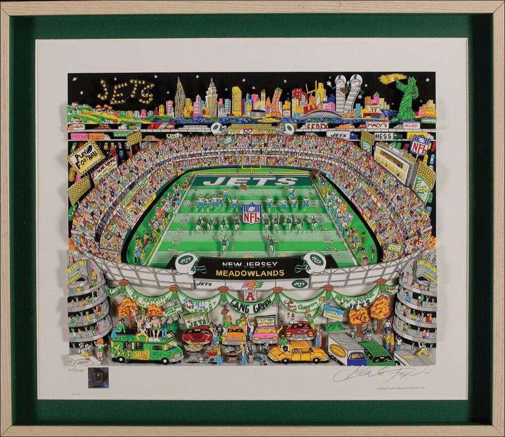 CHARLES FAZZINO SIGNED AUTO 3 D LITHOGRAPH NEW YORK JETS FRAMED