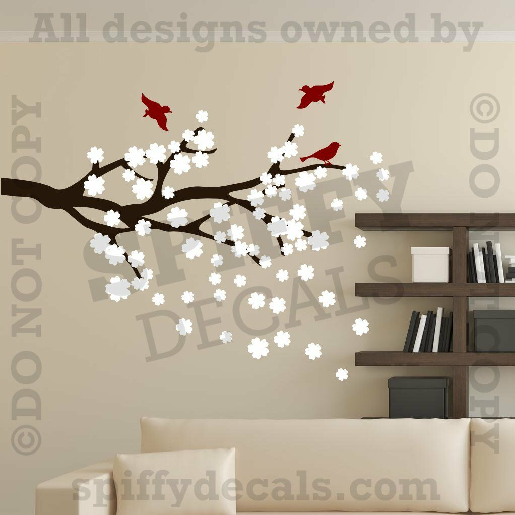 New cherry blossom tree branch wall art decor vinyl removable decal