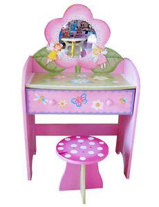 Children Kids Girls Fairy Butterfly Wooden Dressing Table