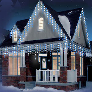 CHRISTMAS 120 WHITE BLUE ICICLE BRIGHT LED XMAS SNOWING LIGHTS OUTDOOR
