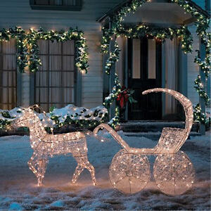 christmas lights 3d crystal horse carriage decoration - Christmas Lighted Horse Carriage Outdoor Decoration
