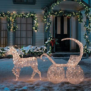 Christmas lights 3d crystal horse carriage decoration for 3 d lighted christmas pig holiday outdoor decoration