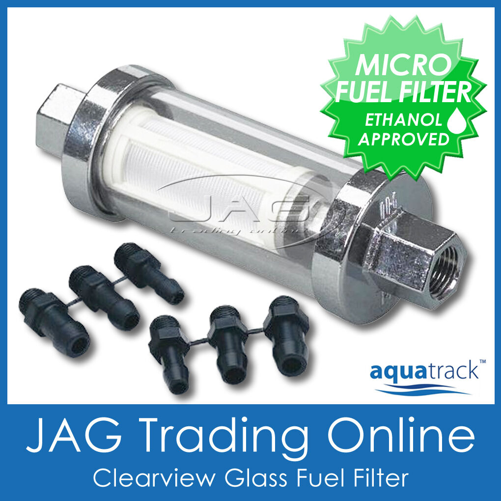 Clearview Inline Glass Fuel Filter Kit Boat Outboard Universal Ride On Stone Filters