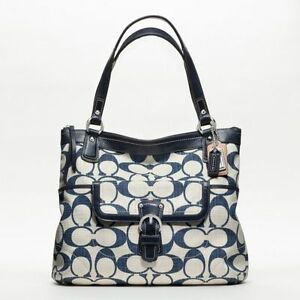 COACH-SIGNATURE-NAVY-BLUE-PURSE-GLAM-TOTE-HANDBAG-BAG-CROSSHATCH ...