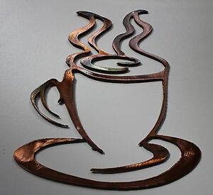 coffee cup small version copper bronze plated metal wall art decor. Black Bedroom Furniture Sets. Home Design Ideas