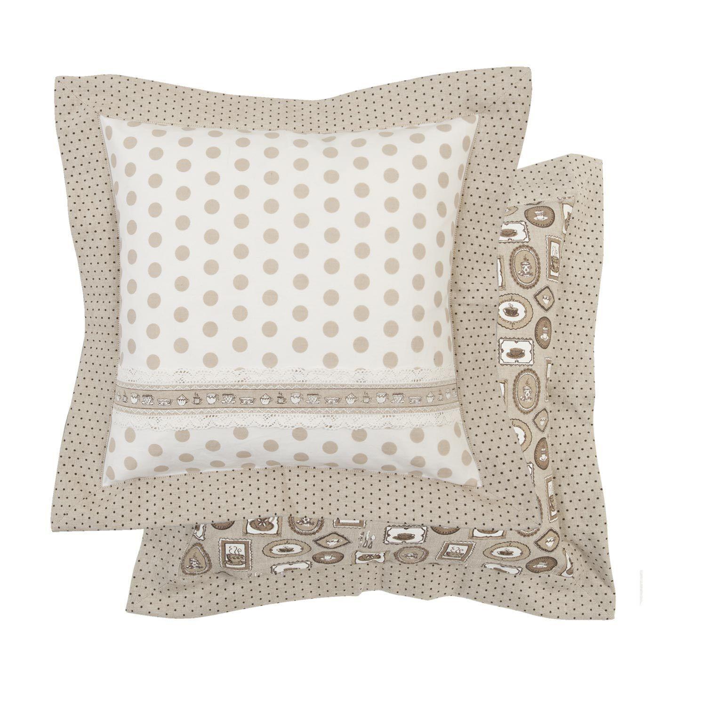 coffee tischdecke creme braun 100x100 shabby chic landhaus spitze punkte ebay. Black Bedroom Furniture Sets. Home Design Ideas