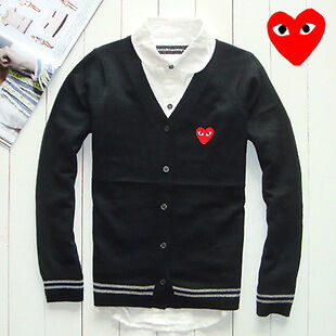 COMME Des GARCONS CDG PLAY RED HEART MENS CARDIGAN SWEATER M