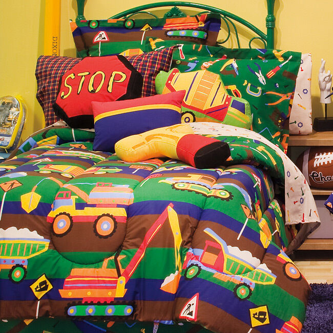 Kids Bedding Construction Trucks, Bulldozers, Boys Reversible Twin Comforter Set (6 Piece Bed In A Bag) at Sears.com