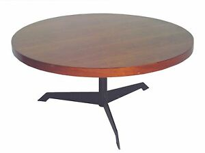 Convertible Round Walnut Steel Coffee Dining Table Mid Century Modern Eames E