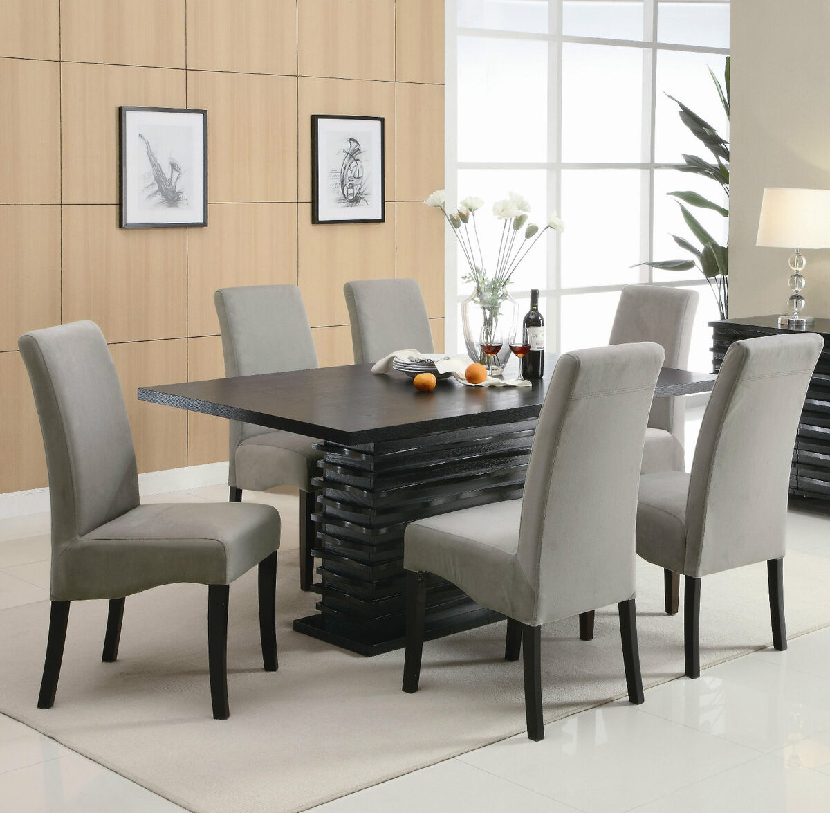 Contemporary black dining table chairs dining room furniture set sale - Contemporary dining room sets furniture ...