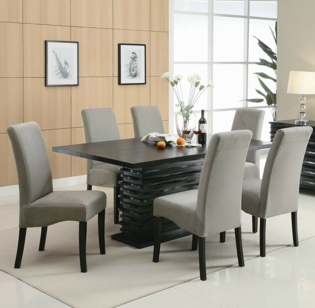 Contemporary black dining table chairs dining room for Designer dining chairs sale