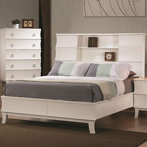 Cool Contemporary White Queen Bookcase Headboard Bed Bedroom Furniture Ebay