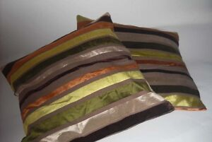 COPPIA CUSCINI ARREDO righe verde marrone divano soggiorno ...