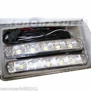 Coppia luci diurne drl 5 led fari bianchi daylight per for Fari a led per auto