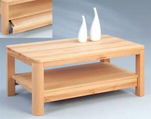 couchtisch massivholz kernbuche echtholz holztisch mit schublade runde ecken ebay. Black Bedroom Furniture Sets. Home Design Ideas