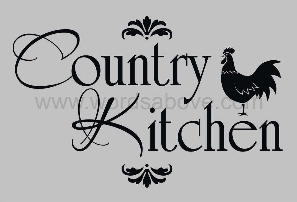 Country Kitchen Vinyl Wall Quote Decal Rooster Home