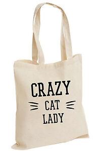crazy cat lady grumpy cat moderne spa tragetasche baumwolle shopper college ebay. Black Bedroom Furniture Sets. Home Design Ideas