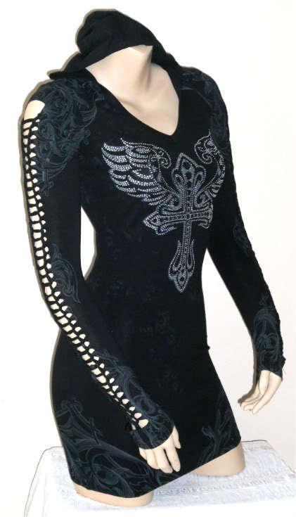 CRYSTAL CROSS ANGEL WINGS SLIT SLASH TATTOO BLACK HOODIE DRESS & ED