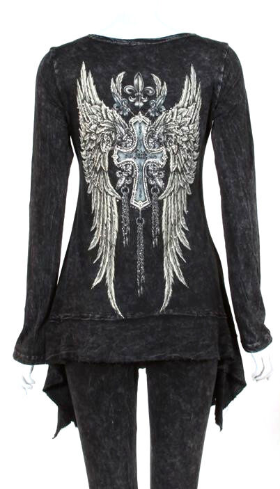 CRYSTAL FAITH CROSS ANGEL WINGS TATTOO BLACK T SHIRT TUNIC 1X ED HARDY