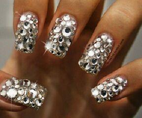 mixed size clear crystal studs nail art rhinestones