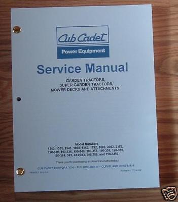 Cub Cadet 1641 Lawn Garden Tractor Service Manual