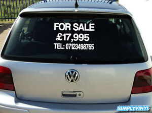 CUSTOM CAR OR VAN FOR SALE STICKER SIGN DECAL VINYL TRUCK CARAVAN ADVERT WINDOW