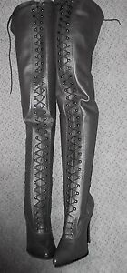 custom made lace up crotch thigh high heel boots shafts