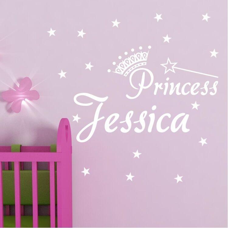GIRL CHILD NAME PRINCESS TIARA CROWN Vinyl Wall Decal Decor