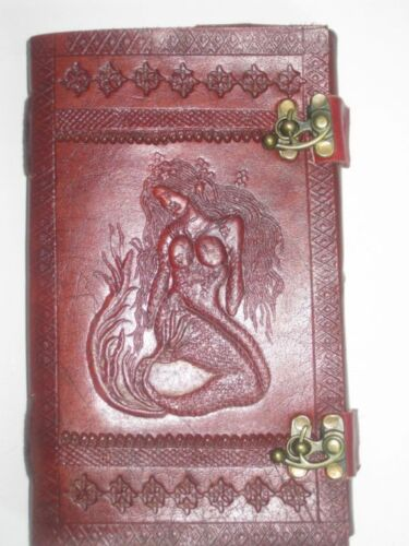 CUSTOMISE MERMAID EMBOSS HANDMADE LEATHER NOTEBOOK HANDMADE PAPER DIARY JOURNAL in Books, Accessories, Blank Diaries & Journals | eBay