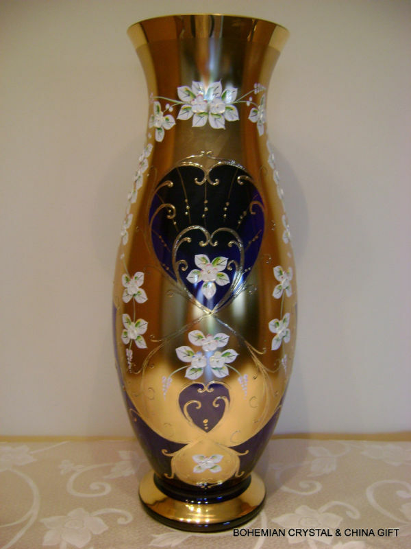 CZECH BOHEMIAN SLAVIA GOLD HIGH ENAMEL LG COBALT BLUE CRYSTAL GLASS