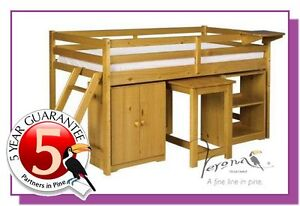Cabin-Bed-Solid-Pine-Childs-Single-Mid-Sleeper-Cupboard-Desk-Shelf-Bookcase