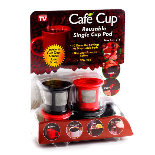 Cafe Cup 4 Pack As Seen On TV Reusable Single Cup Pod Coffee For Keurig K Brewer in Home & Garden, Kitchen, Dining & Bar, Kitchen Tools & Gadgets | eBay