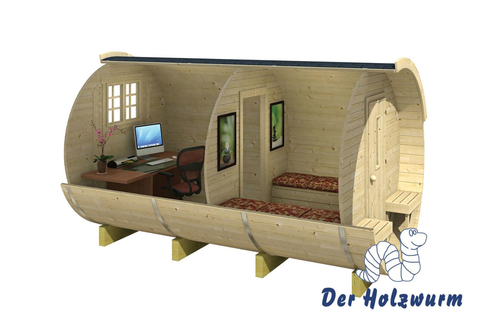 campingfass holz 215x330 cm holzhaus 28 42 mm holzfass fass ferienhaus neu ebay. Black Bedroom Furniture Sets. Home Design Ideas
